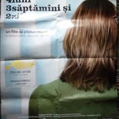 Afisul filmului romanesc : 4 luni , 3 saptamani si 2 zile , un film de Cristian Mungiu , film premiat cu Palme D'Or si  Firesci , afis