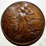 C.307 ITALIA VITTORIO EMANUELE III 50 ANI ANIVERSARE REGAT 10 CENTESIMI 1911 XF, Europa, Bronz