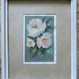 Trandafiri, pictura semnata ilizibil - Pictor roman