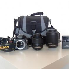 Dslr Nikon d60 +obiectiv 18-55VR + obiectiv 55-200VR + geanta, Kit (cu obiectiv), 10 Mpx, HD