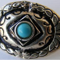 Brosa veche din argint cu turcoaz - de colectie - Brosa argint