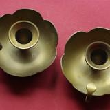 Set 2 bucati - Sfesnice model deosebit din alama cu toarta !!! - Metal/Fonta