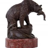 URS - STATUETA DIN BRONZ PE SOCLU DIN MARMURA - Sculptura, Animale