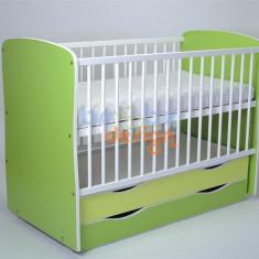 Patut cu saltea si lenjerie - Patut lemn pentru bebelusi, 6-12 luni, 120x60cm, Verde