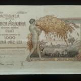 ACTIE , ACTIUNE - BANCA  AGRARA  CLUJ  SOCIETATEA ANONIMA CLUJ  1000 LEI  1IAN 1921 FOARTE RARA
