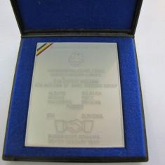 PLACHETA BRONZ ARGINTAT 1999 BUCURESTI IN CUTIE - Medalii Romania