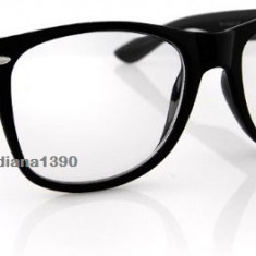 Ochelari nerd geek Wayfarer clear lens rama neagra tocilar 2016 - Ochelari stil wayfarer, Unisex