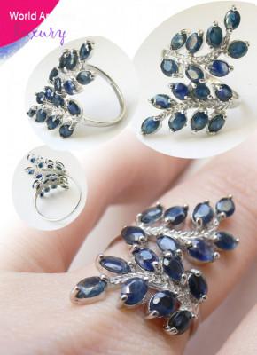 Natural Blue African Sapphire Fern Leaf Sterling Ring - Inel SAFIR ALABASTRU NATURAL African, Argint 925 foto