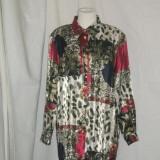 BLUZA DIN MATASE CU NASTURI PERLA, 44 - Bluza dama, Culoare: Multicolor, Maneca lunga, Universala, Multicolor