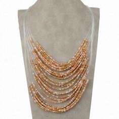 SET Colier + cercei bilute mici multicolore nuante calde auriu bej crem ideal cadou  COMANDA MINIM 30 LEI