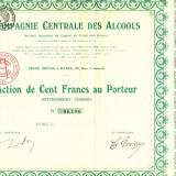 Actiune COMPAGNIE CENTRALE DES ALCOOL,Paris 1905 (1)