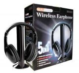 Casti wireless 5 in 1 cu microfon si radio FM incorporat, Casti On Ear