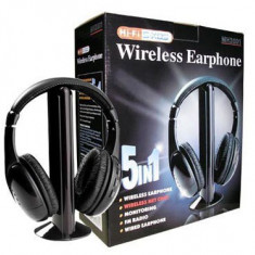 Casti wireless 5 in 1 cu microfon si radio FM incorporat, Casti On Ear