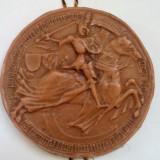 Veche replica a unui sigiliu medieval din 1400, tablou, panoplie, medalie, placheta din parafina(ceara)
