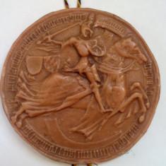 Sigiliu medieval, replica din 1400, panoplie din parafina