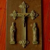 Panoplie religioasa deosebita lemn, alama - bronz - Metal/Fonta