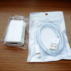 Incarcator priza Iphone 5/6/7 + Cablu incarcare/sincronizare Iphone 5/6/7 - Incarcator telefon iPhone, iPhone 6, De priza