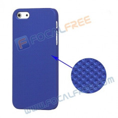 Husa albastra silicon rigid iphone 5 5G + folie protectie ecran