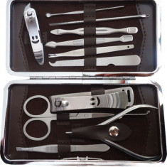 Set pentru manichiura si pedichiura, 11 accesorii - Trusa manichiura