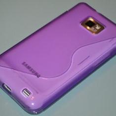 husa mov samsung  galaxy s2 i9100 silicon purple + folie protectie ecran