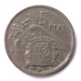 G1. SPANIA 5 PESETAS 1967 FRANCO **, Europa