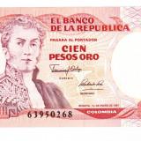 Bnk bn columbia 100 pesos de oro 1991, unc