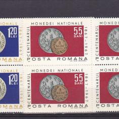 Centenar moneda bloc de 4, nr lista 646,  Romania .