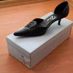 Pantofi dama negri din piele marca BATA, marimea 37 - Pantof dama Bata, Culoare: Negru, Negru, Cu toc