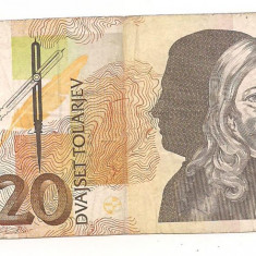 Bancnota-SLOVENIA -20 DVAJSET TOLARJEV-1992