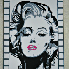 Portret Marilyn Monroe, pictat manual pe panza - Tablou autor neidentificat