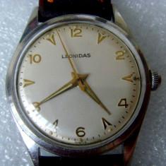 * Ceas Leonidas anii '50 - original - FELSA 465N - Ceas barbatesc Tag Heuer, Mecanic-Manual, Inox, Piele, Analog, 1940 - 1969