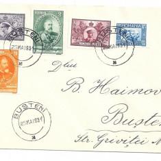 Scrisoare-serie intreaga Semicentenarul Regatului 1931-Loco Busteni - Timbre Romania