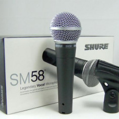 Promo ! Microfon Shure Incorporated PROFESIONAL SHURE SM58, MEXIC+CABLU+NUCA STATIV+BORSETA SHURE! NOU!