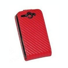 Toc piele rosie carbon flip HTC G8 husa leather red + folie ecran case cover expediere gratuita
