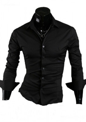 Camasa Slim Fit (Negru sau Alb) - Camasa neagra - Camasa alba foto