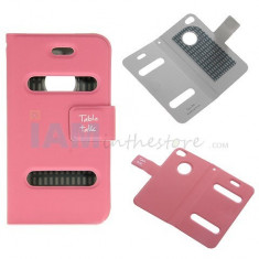 Toc din piele roz pink flip iphone 4 4s + folie ecran