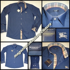 CAMASA BARBATI BLEUMARIN DENIM GEN FIRMA BURBERRY REGULAR FIT MANECA LUNGA, Marime: S, M