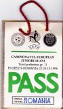 Legitimatie - Pass Campionatul European de Juniori 18 ani 22-26.10.1996