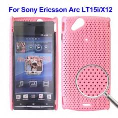 Husa silicon rigid antiradiatii mesh roz Sony Ericsson Arc LT15i Lt18i X12 pink