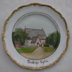 Superba farfurie din portelan suedez, pictata manual, Farfurii