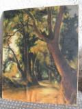 Peisaj cu padure , tempera pe panza, Arbori, Impresionism