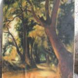 Peisaj cu padure, tempera pe panza - Pictor roman, Arbori, Impresionism