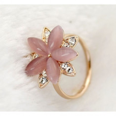 Inel Pink Crystal cu Crystale de tip Swarovski si placat cu aur de 18k - Inel Swarovski