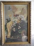 Nimfe - scena romantica, tablou vechi , pictura pe panza