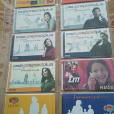 Lot 20 cartele telefonice Malaezia si Sri Lanka + folie de plastic + taxele postale = 30 roni - Cartela telefonica straina