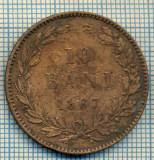 682 MONEDA VECHE - ROMANIA - 10 BANI  -anul 1867 WATT&CO  -starea care se vede