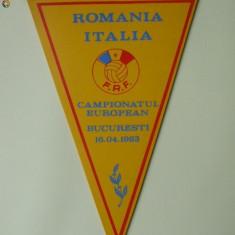 FANION ROMANIA-ITALIA,CAMPIONATUL EUROPEAN BUCURESTI 16.04.1983,STARE FOARTE BUNA