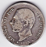 2.Spania 2 PESETAS 1882 argint 10 gr. 0.835,Alfonso XII, COTATIE RIDICATA