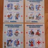 SOCIETATEA NATIONALA DE CRUCE ROSIE 4 COLITENEDANTELATE HARTIE GLISANTA - Timbre Romania