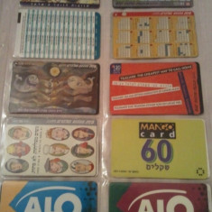 Lot 12 cartele telefonice Israel 2 + folie de plastic + taxele postale = 30 roni